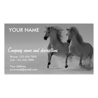 Two White Horse Dashing Through The Snow Business Card