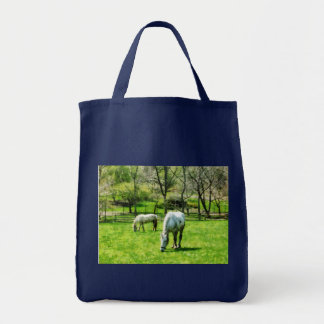 Two White Horses Grazing Tote Bag