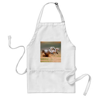 two white horses running adult apron