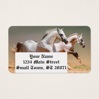 two white horses running business card