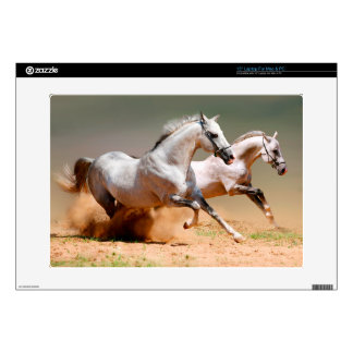 two white horses running decals for laptops