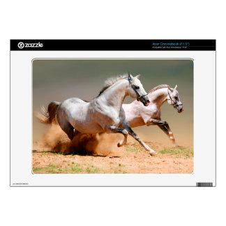two white horses running skin for acer chromebook