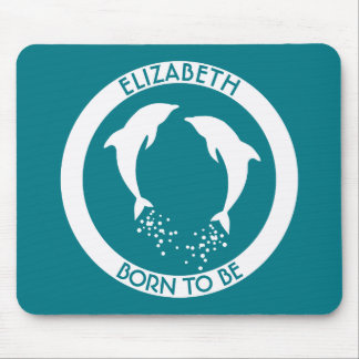Two White Jumping Dolphins With Bubbles Mouse Pad