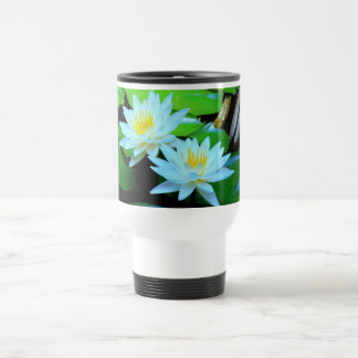 """TWO WHITE LOTUS BLOSSOMS"" TRAVEL/COMMUTER MUG"