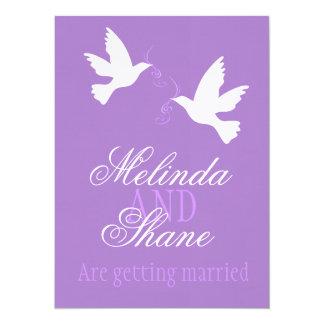 Two white love birds purple formal wedding invite