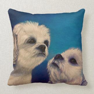 Two White Maltese Puppies Throw Pillow