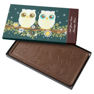 Two White Owls - Custom Message 2 Pound Milk Chocolate Bar Box