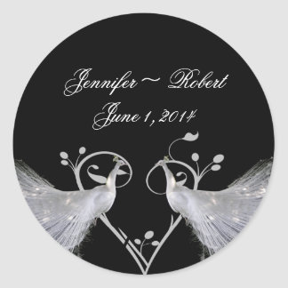 Two White Peacocks and Heart Monogram on Black ... Classic Round Sticker