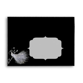 Two White Peacocks and Heart Monogram on Black Envelope