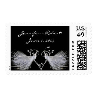 Two White Peacocks and Heart Monogram on Black Stamp