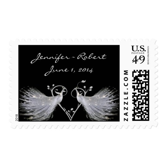 Two White Peacocks and Heart Monogram on Black Postage