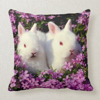 two white rabbits in the flower patch, Easter nest Pillow