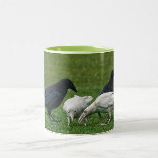 Two White Ravens & 3 Black, Wildlife Photo Two-Tone Coffee Mug