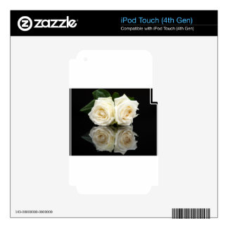 Two white roses with mirror image on black skin for iPod touch 4G