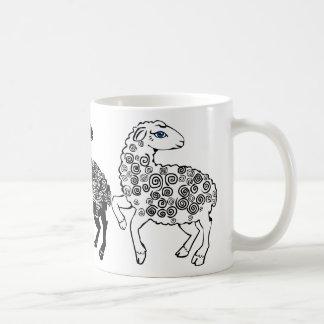 Two White Sheep One Black Sheep Folk Art Coffee Mug