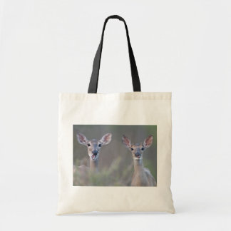 Two White-Tailed Deer Making Faces Tote Bag