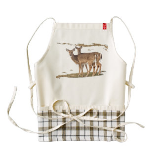 Two White-tailed Deer On Alert Zazzle HEART Apron