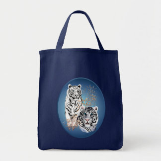 Two White Tigers Oval Bags