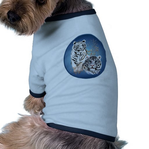 Two White Tigers Oval Pet Cloths T-Shirt