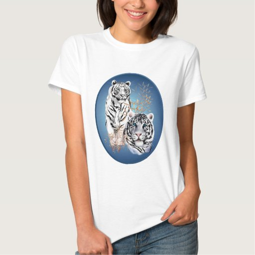 Two White Tigers Oval Shirt