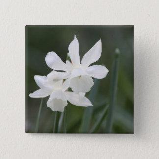 Two White Wild Daffodils in Green Field Pinback Button