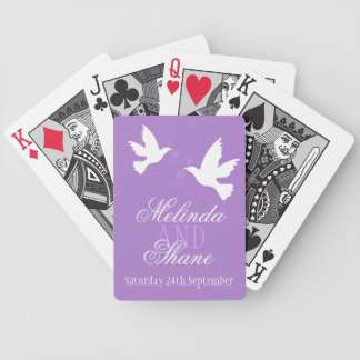 Two whites doves purple wedding name playing cards