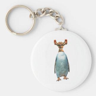 Two wild animal montage basic round button keychain