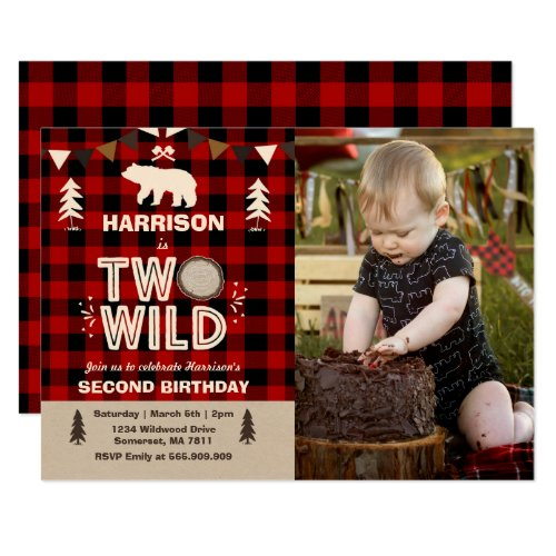 Two Wild Birthday Invitation Lumberjack Two Wild