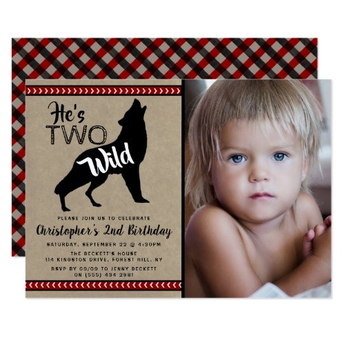 Two Wild Boys Photo 2nd Birthday Party Invitations