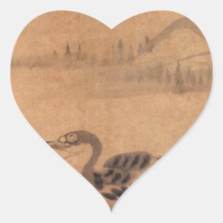Two Wild Geese by Bada Shanren Heart Sticker