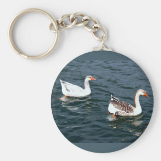 Two Wild Gray Geese Swimming Together Keychain