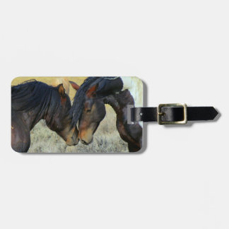 Two Wild Horses Touching Noses Luggage Tag