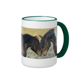 Two Wild Horses Touching Noses Mug