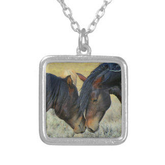 Two Wild Horses Touching Noses Necklace