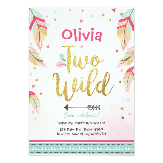 Two Wild Party Invitation 2nd Birthday Girl Boho