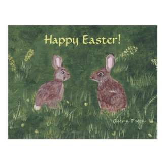 Two Wild Rabbits in Grass Happy Easter Postcards