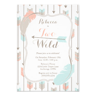 TWO Wild Tribal Arrows Second Birthday Party Pink Card