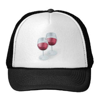 Two wine glasses illustration hats