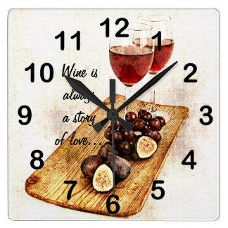two wine glassesand fruit square wall clocks