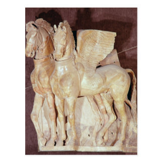 Two winged horses from the pediment of a postcard