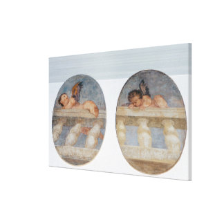 Two winged putti climbing over a balustrade, round canvas print