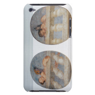 Two winged putti climbing over a balustrade, round iPod touch Case-Mate case