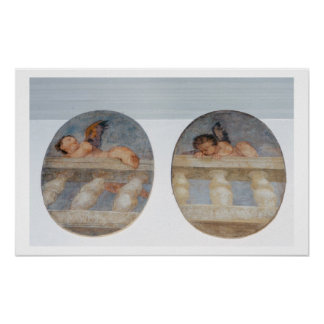 Two winged putti climbing over a balustrade, round posters