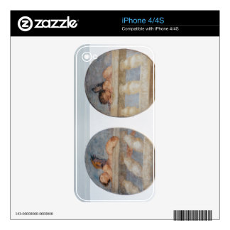 Two winged putti climbing over a balustrade, round skin for the iPhone 4