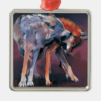 Two Wolves 2001 Square Metal Christmas Ornament