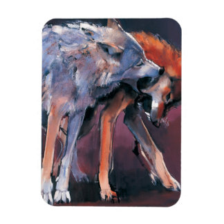 Two Wolves 2001 Rectangular Photo Magnet