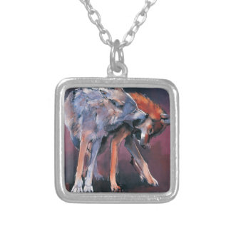Two Wolves 2001 Silver Plated Necklace