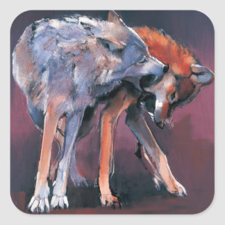 Two Wolves 2001 Square Sticker