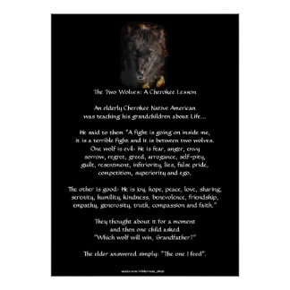 TWO WOLVES CHEROKEE STORY Wolf Art Poster