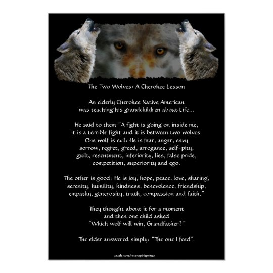 Two Wolves Cherokee Story Wolf Poster Smaller Zazzle Com